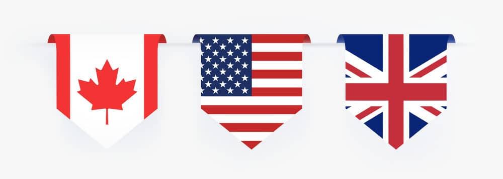 Canada USA & Australia flag